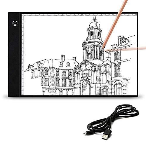Cskunxia Tablero de luz LED A4 con cable USB de 2 m, protección de ojos ajustable A4 para pintura, dibujar, animación, esbozar.