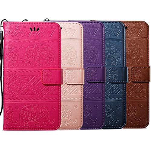 kompatibel mit Huawei Nova Plus Hülle,Huawei Nova Plus Lederhülle Schutzhülle Leder Tasche Flip Case,Prägung Elefant PU Leder Brieftasche Flip Hülle Kunstleder Wallet Tasche Cover,Rose Gold - 2