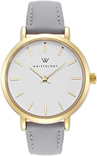 Charlotte - 3 Options - Lines Womens Watch Gold Petite Ladies Grey Leather Strap Band