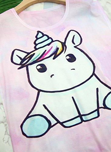 Futurino Women's Summer Colorful Bow Tie Unicorn Print Short Sleeve T-Shirt Tops 5