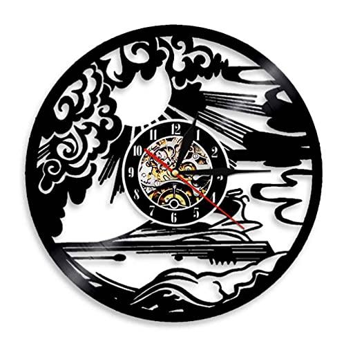 Reloj De Pared Reloj de Pared Deportivo para Yates, Vela, Hombre de yate, Disco de Vinilo, Barco de Vela, decoración del hogar, Reloj de Marinero, luz (30cm)