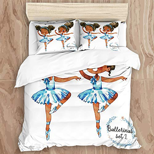 QNMDC Bedding Set 3D Print for Duvet Cover Set 2 Pillowcases,African American Black Girl Ballerina Princess Afro American Teen Girl Gymnastic Ballet Dancer, Twin Size