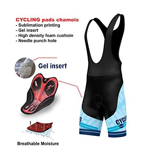 Salopette per ciclismo, imbottita in gel 3D, pantaloncini da ciclismo con stampa a sublimazione, di FDX, FDX-1320-20-22f, Sky Blue, L