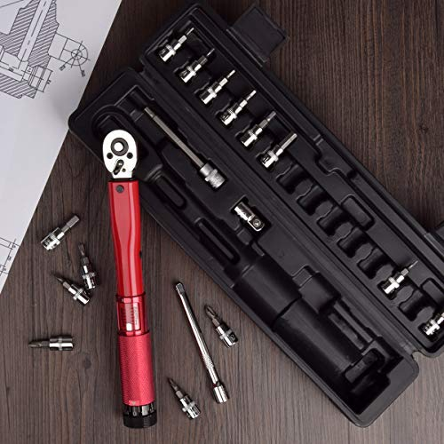 """Bike Torque Wrench, 1/4 Inch Drive Torque Wrench Set 2 to 24 Nm Bicycle Tool Kit for MTB Mountain Road Bikes with 3/8"""" Adapter, Allen Key, Torx Sockets, Extension Bar"""
