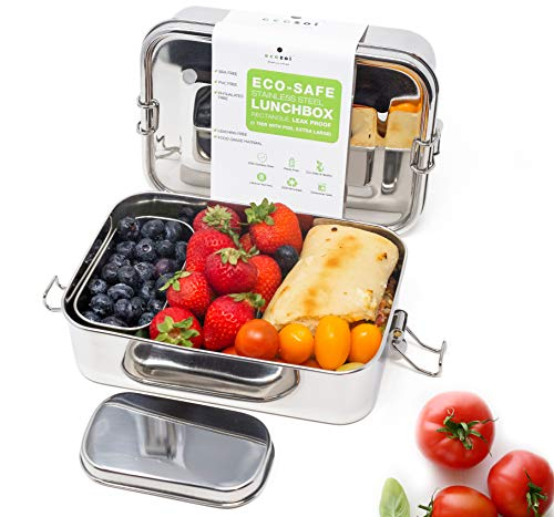 ecozoi Leak Proof Stainless Steel 1-Tier Extra Long Eco Lunch Box Metal Bento Box | Bonus POD and REDESIGNED Silicone Seal | Sustainable Zero Waste Eco Friendly Food Storage Container