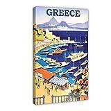 Vintage Travel Grecia Retro Grecia Pesca Retro Seaside Clásico Lienzo Cartel Decoración Dormitorio Arte Pop Decoración Oficina Decoración Regalo...