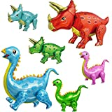 Dinosaur Party Supplies - 6 pcs Premium 3D JUMBO Foil Dinosaurs Mylar Balloons for Birthday Celebration - Colorful Triceratops and Apatosaurus Decoration
