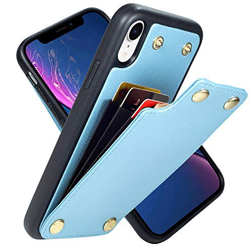 LAMEEKU Wallet Case for iPhone XR, iPhone XR Carbon Fieber Case with Card Holder Slot Leather Money Pocket, Protective Cover for Apple iPhone XR 6.1''- Light Blue