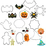 fenihooy Set di 6 formine per biscotti in acciaio inox di Kürbis, cappello da strega, fantasma, caramelle, pipistrello, gatto, biscotti per bambini