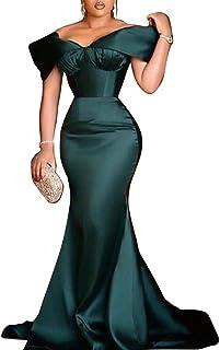 VERWIN Short Sleeve Floor-Length Pleated Women's Bodycon Dress Mid Waist Pullover Mermaid Dress