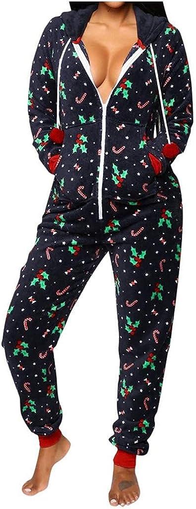Thermal Underwears Christmas Union Jumpsuit One Piece Base Layers Hooded Sweatshirt Sleepwear for Women