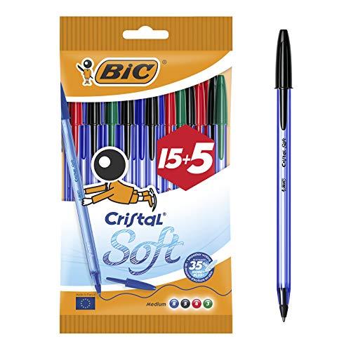 Bic Cristal Soft Penne a Sfera, Punta Media (1.2 mm), Colori Assortiti, Confezione da 15 Penne + 5 in Omaggio, per Scrivere a Scuola e a Casa