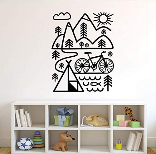 zwyluck muurstickers, fiets, mountainbike, muurstickers, muurstickers, decoratie voor thuis, 56 x 72 cm