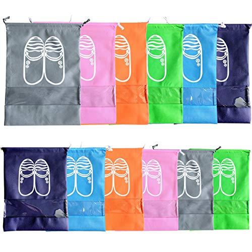 ZOCONE Sacchetti Portascarpe, 10 Pezzi Sacchetti per Calzature Sacchetti Scarpe da Viaggio, Impermeabile e Antipolvere, con Finestrella Trasparente, Adatto per Riporre Scarpe (12 PCS)