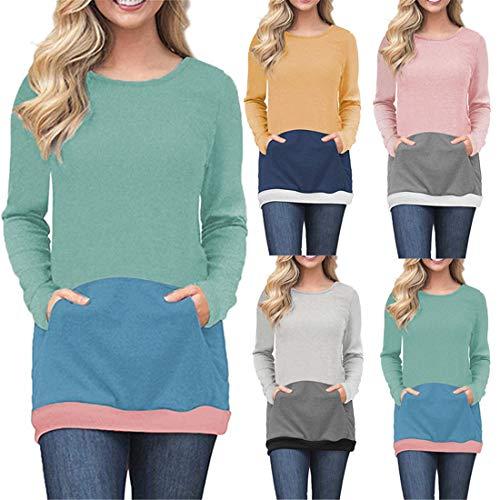 Damen T-Shirts Langarm Casual Jumper Bequeme Bluse Rundhalsausschnitt Elegante...