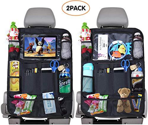 Avril Tian Auto-Rücksitz-Organizer, Kick-Mats, Auto-Rücksitzschutz mit Tablet-Halterung + 9 Aufbewahrungstaschen für Spielzeug, Bücher, Flasche, Getränke, Kinder, Reisen, 2 Stück