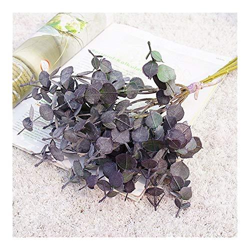JiaQinHe Remains 5Pcs / Bündel Dusty künstliche Anlage Kunststoff Eukalyptus-Baum-Zweig for Hochzeitsdekoration Blumen Arrangment Greens Faux-Laub noch nie (Color : Purple)