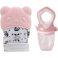 Fantastic Treasure Baby Soothing Teething Mitten with Baby Food Feeder (Pink)