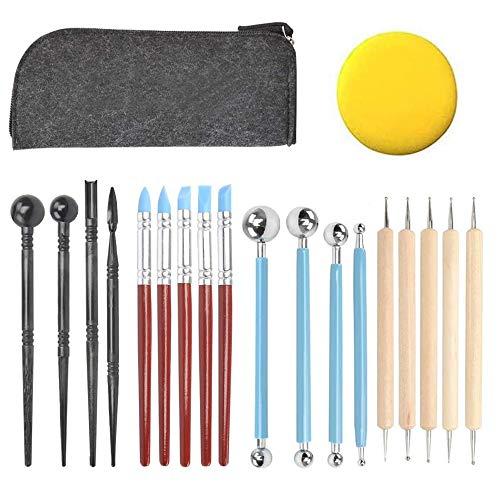 HO2NLE Polymer Clay Werkzeug 18 Stück Polymer Ton Werkzeug Modellierwerkzeug Set Skulptur Kit für Tonkeramik mit 1 Aufbewahrungstasche