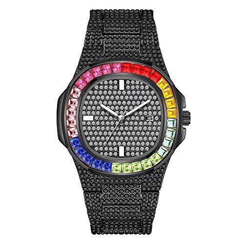 Colorful ghiacciato fuori la vigilanza di Mens completa del diamante della vigilanza rotonda Bling Hip Hop Luxury Fashion quarzo