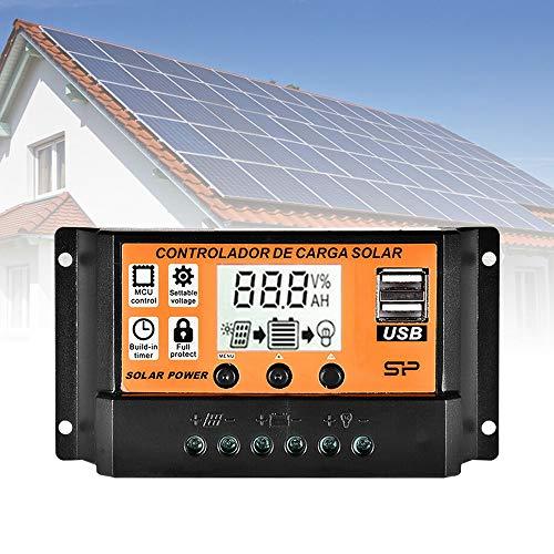 10A Inteligente Regulador Carga, 12V/24V Panel Controlador Carga Solar con Pantalla LCD y Doble Puerto USB para Panel Solar Lámpara Batería y Iluminación LED
