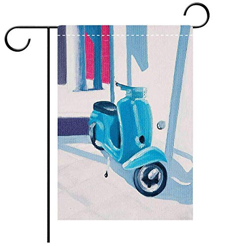 Custom Personalized Garden Flag Outdoor Flag Country Decor Mini Scooter in a Soft Mediterranean Mid Day Light Italian Town Life Symbol Art Paint Blue Grey Best for Party Yard and Home Outdoor Decor