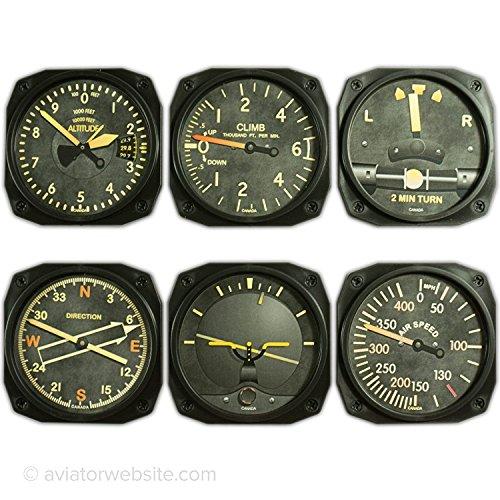 Vintage Aircraft Instrument Coaster Set - Set of 6