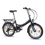 '20pouces vélo pliant vélo pliant vélo chrisson Foldo avec 6vitesses Shimano Noir mat