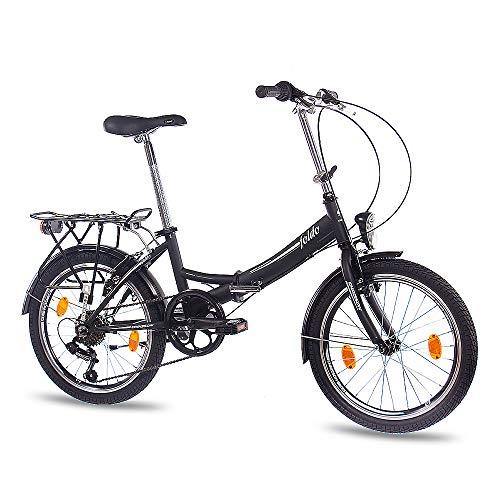CHRISSON 20 Zoll Faltrad Klapprad - Foldo schwarz - Faltfahrrad für Herren und Damen - 20 Zoll klappbares Fahrrad mit 6 Gang Shimano Kettenschaltung - Folding City Bike