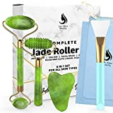 Jade Roller Face Roller Gua Sha Stone Guasha 6 in 1 Face Massager Set for Face, Jade Facial Roller | Silicone Makeup Brush Eye Roller Massager | For Face Made From Real Jade | Ice Massager, Eye Puffiness Relief With Travel Pouch