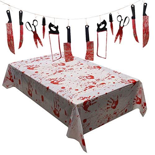 Hemoton Halloween Blut Tischdecken Tischdecke Blutig Gruselig Halloween Partydekoration Blutig Tischdecke Halloween Tischdecke für Außen/Innen Halloween Partydekoration