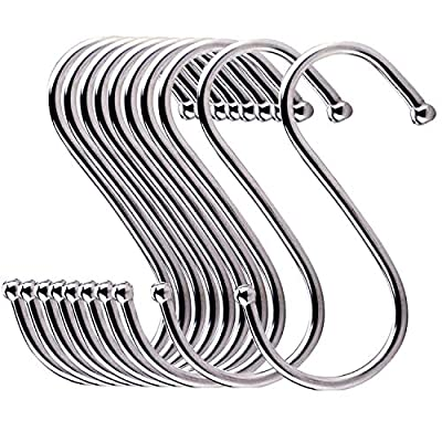 ESFUN 24 Pack Large Stainless Steel S Shaped Hooks for Kitchen Pans and Pots