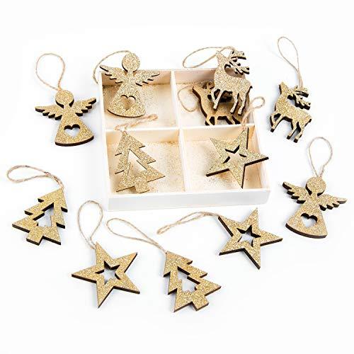 Logbuch-Verlag 12 Anhänger Weihnachten Deko Set zum Aufhängen Holz Gold Glitter Herz Baum Stern Rentier Vintage Weihnachtsanhänger Baumbehang