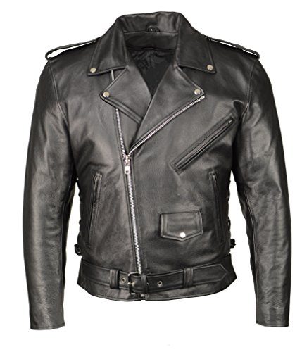 M Boss Motorcycle Apparel BOS11507 Mens Black Leather Armored Classic Side Lace Biker Jacket - 3X-Large
