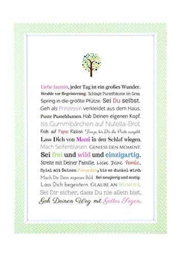 Taufgeschenk für Mädchen: Personalisierbares Bild (Kunstdruck in A4) - Geschenk Taufe | Gastgeschenk Patenkind von Taufpaten | Babygeschenke mit Namen