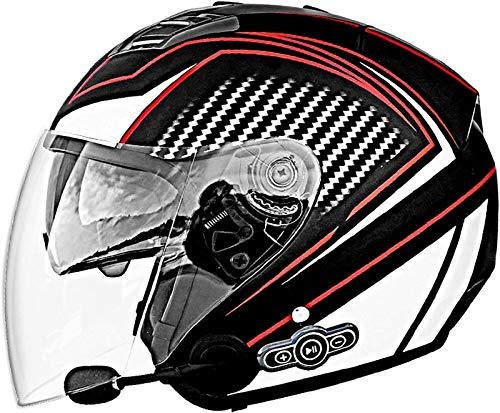 Casco del motociclo di Bluetooth, aperta e modulare doppio parasole anti-appannamento del casco Bluetooth Microfono integrato Altoparlante incorporato risposta automatica con FM, DOT Certificazione L