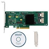 Tarjeta PCIe SATA, Tarjeta controladora PCIe SAS/SATA de 8 Puertos 6 Gbps para Disco Duro SAS 9211-8i 2008E SATA3 4T, Chip LSI 2008-8I
