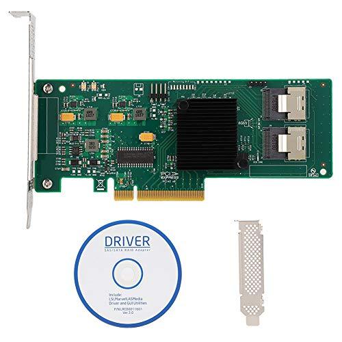 PCIe SATA Karte, 8-Port PCIe SAS/SATA Controllerkarte 6 Gbit/s für SAS 9211-8i 2008E SATA3 4T Festplatte, LSI 2008-8I-Chip