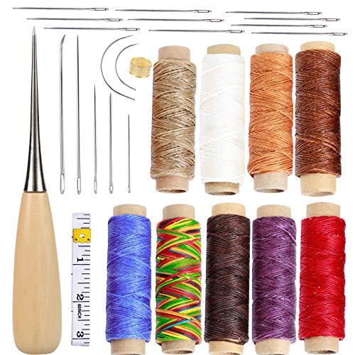 49 herramientas de piel para manualidades, kit de reparación de tapicería con 7 agujas de coser de tapicería curvada con 9 colores 150D de cuero encerado y 30 agujas de costura de ojos grandes