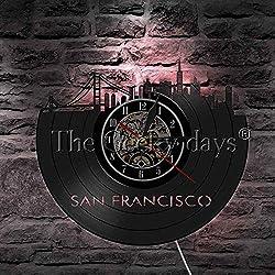 Vinyl Wall Clock San Francisco Skyline Vinyl Record Wall Clock USA S.F. Cityscape Decoration Wall Clock Golden Gate Bridge Travel Clock Landmark