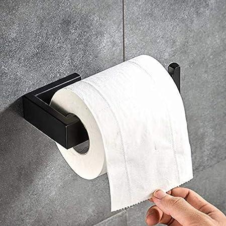 BigBigHome Noir Mat Porte-Papier Toilett en Acier Inoxydable 304 Fixation Murale Accessoire de Salle de Bain Porte Rouleau Papier Toilette pour Salle de Bain