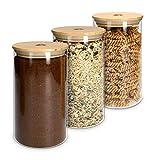 Navaris Set de 3 Botes de Cristal con Tapa de bambú - Tarros para Alimentos como café Pasta arroz harina Cereales - frascos para la Cocina - 1L