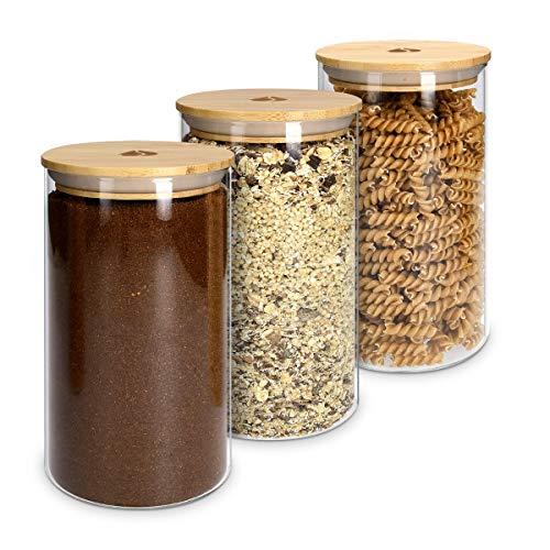 Navaris 3X Bote de Cristal con Tapa de bambú - Set de tarros de 1 L para Almacenamiento de Alimentos Pasta harina legumbres - Frascos para la Cocina