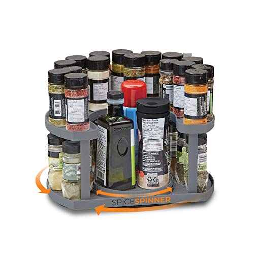 Spice Spinner Two-Tiered Spice Organizer & Holder That Saves Space, Keeps Everything Neat, Organized & Within Reach With Dual Spin Turntables- Grey