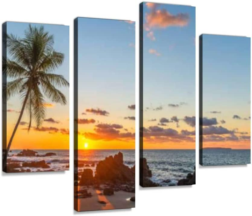 IGOONE 4 Panels Canvas Paintings Limited price - Tree Palm High order Sunset Costa Ric in