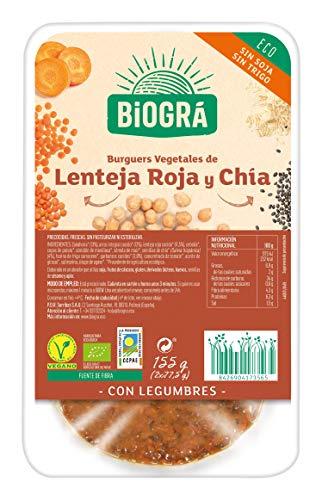 Desconocido BioGramosá Hamburguesa de Legumbres, Lenteja y Chía, 160G (Refrigerada), Multicolor, 155 Gramos