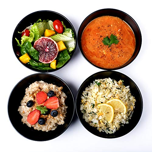 Cereal Soup Bowls Set of 4, Black Cereal Bowls, 26 Ounce, Microwavable Safe Bowls, Bowls for Salad, Ice Cream, Oatmeal, Bamboo Fiber, Dishwasher Safe, Unbreakable Dinnerware, Lightweight, Matte Black
