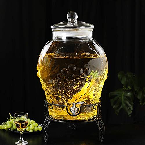 SWE Grote inhoud dranktoevoer met robuuste standaard en glazen deksel glaswaren voor water, sap, bier, wijn, sterke dranken, koude dranken A~