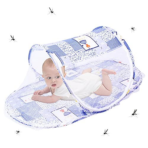 Carpa cuna plegable azul, BKJJ Mosquitera para tienda, Plegable bebé cuna tienda,...