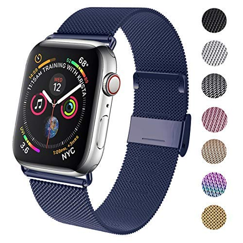 GBPOOT Compatible for Apple Watch Band 38mm 40mm 42mm 44mm, Wristband Loop Replacement Band for Iwatch Series 4,Series 3,Series 2,Series 1,Midnight Blue,38/40mm
